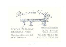 "Carte De Visite -   Brasserie "" DICKTUS ""  VERVIERS (van) - Cartes De Visite"