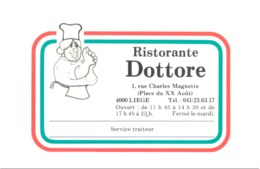 """Carte De Visite -  Ristorante  """" DOTTORE """"  LIEGE (van) - Cartes De Visite"""