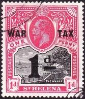 ST HELENA 1919KGV 1d On 1d Black & Carmine-Red SG88FU - Saint Helena Island