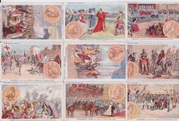 Chromo Série Historique Potages Perles Du Japon Histoire De France Napoléon Charlemagne Clovis Louis Lot De 60 Chromos - Ohne Zuordnung