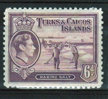 Turks And Caicos 6d Single Stamp From The 1938 Definitive Set. - Turks And Caicos