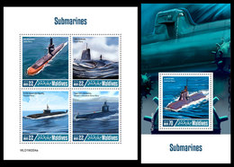 MALDIVES 2019 - Submarines. M/S + S/S Official Issue - Maldives (1965-...)