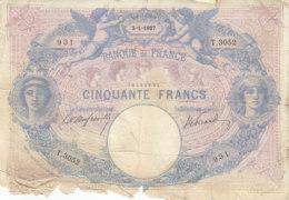 Billet 50 F Bleu Et Rose Du 3-1-1907 FAY 14.19 Alph. T.3052 ANNÉE PEU COURANTE - 50 F 1889-1927 ''Bleu Et Rose''