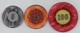 Lot De 3 Jetons De Casino : Casino Paradise Kenya : 5 - 25 - 100 - Casino