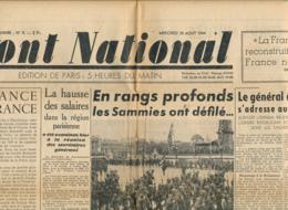 FRONT NATIONAL, N° 9, Mercredi 30 Août 1944, De Gaulle, Vincennes, Reich, Soissons, Rouen, La Concorde, Epuration... - Journaux - Quotidiens
