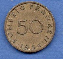 Sarre   -  50 Franken 1954 --état  TTB  -  1 Petit Coup Tranche - Sarre
