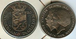 Pays-Bas Netherland 2 1/2 2,5 Gulden 1980 Investiture UNC KM 201 - 1980-… : Beatrix