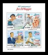 Sierra Leone 2019 Mih. 10553/56 Baseball Player Joe DiMaggio. Cinema. Actress Marilyn Monroe MNH ** - Sierra Leone (1961-...)