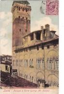 LUCCA ,,,, PALAZZO E  TORRE   GUINIGI  (  XI   SECOLO )   JOLI Cachet ,,,, VOYAGE  1908,,,,,COLORISEE - Lucca