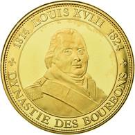 France, Médaille, Les Rois De France, Louis XVIII, History, FDC, Copper Gilt - France