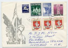 LITHUANIA 1991 Independence Anniversary Stationery Envelope, Used To UK.  Michel U12 - Lithuania