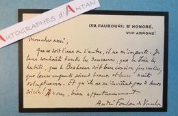 André FOULON DE VAULX Poète Romancier - Carte Lettre Autographe - Né à Noyon - Faubourg Saint Honoré - Autographes