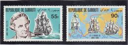 B14 - DJIBOUTI PO 525/526 ** MNH De 1980 - JAMES COOK PORTRAIT - Les 3 Voyages Et Les 3 Bateaux - - Djibouti (1977-...)