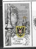 AUSTRIA, 2019, MNH, HISTORY, 500th ANNIVERSARY OF DEATH OF EMPEROR  MAXIMILIAN I, COAT OF ARMS,1v - History