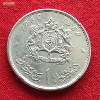 Morocco 1 Dirham 1960 Y# 55 Silver Maroc Marrocos Marokko Marruecos - Morocco