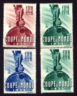 CP9- RARISSIME LOT DE 4 VIGNETTES 3 TEINTES DONT PAIRE DE LA COUPE DU MONDE DE FOOT 1938- NEUVES** SANS CHARNIÈRES- - Commemorative Labels