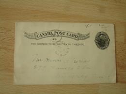 Canada 1895 One Cent Noir Entier  Postal  Stationery Card - 1851-1902 Règne De Victoria