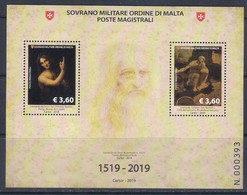 SMOM (2019) Leonardo Da Vinci (500th Anniversary Of Death) - Sheetlet (MNH) - Celebridades