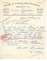 Lettre 1940 / 88 REMONCOURT / F ROUSSEL / Garage Et Auberge Saint Christophe - France