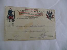 CPFM Carte Postale En Franchise Militaire France Illustrée Drapeaux Soldat Pour L'Algérie Alger 1914 - Marcophilie (Lettres)