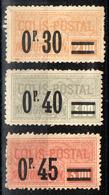 """France Colis Postal YT N°35, 36 Et 37 Neuf (*) (sans Gomme) (1926) """"Majoration"""" - Parcel Post"""