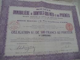 Action 500 Francs Au Porteur Société Immobilière De Banyuls Sur Mer Et Des Pyrénées - Banque & Assurance