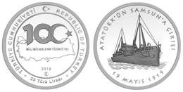 AC - CENTENARY OF NATIONAL STRUGGLE 19 MAY COMMEMORATIONOF ATATURK YOUTH AND SPORTSDAY SAMSUN COM SILVER COIN UNC 2019 - Turquia