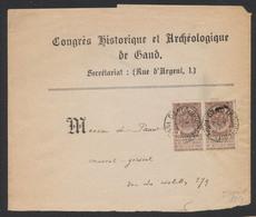 """Fine Barbe - N°55 En Paire Sur Bande Imprimée """"Congrès Historique Et Achéologique De Gand"""" Vers La Ville. - 1893-1900 Thin Beard"""