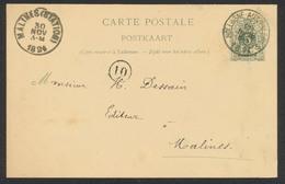 """EP Au Type 5ctm Vert Obl Simple Cercle """"Hologne-aux-pierres"""" (1894) Vers Malines. TB - Entiers Postaux"""