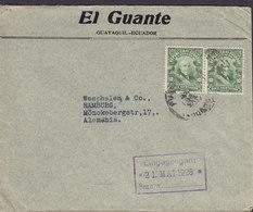 Ecuador EL GUANTE, GUAYAQUIL 1926 Cover Letra HAMBURG Germany 2x Garcia Moreno - Ecuador