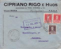 Argentina CIPRIANO ROGO E HIJOS Succ. De Rigo, Giminez & Cia VILLA MARIA 1925 Cover Letra HAMBURG Germany 3x San Martin - Argentinien