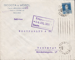 Argentina BICOCCA & WEIBEL, Tms. Cds. ROSARIO 1925 Cover Letra HAMBURG Germany 12c. San Martin Single - Argentinien