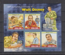 M253. Sierra Leone MNH - 2016 - Famous People - Walt Disney - Celebrità