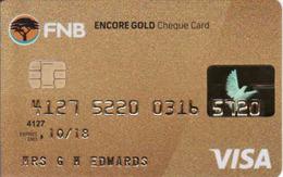 South Africa Bank Card VISA, FNB Gold Magnetic Card - Carte Di Credito (scadenza Min. 10 Anni)
