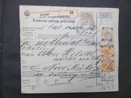 Postbegleitadresse Jaromer - Nove Mesto 1902 Paketschein  // D*38544 - 1850-1918 Imperium
