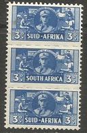 South Africa - 1942 Women's Services 3d Strip MNH **   SG 101a  Sc 94 - South Africa (...-1961)