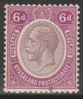 Nyasaland Protectorate 1913 - SG 92a, 6d - KING GEORGE V - MLH - Nyasaland (1907-1953)