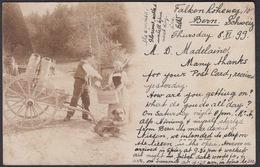 CPA  Suisse, Le Laitier - Attelage De Chien / Dog Cart - Carte Photo 1899 - Svizzera