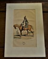 Antieke Gravure  DRAGON   Armée D' Egypte 1799  Met Pas-partout Rond - Animaux