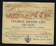 """étiquette Vin  Chablis  Grand Cru """"les Clos"""" André Vannier Bercut Vandervoorte & Cie San Francisco - Bourgogne"""