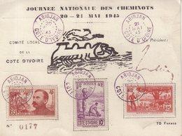 COTE - D'IVOIRE : CP . DE LA JOURNEE DES CHEMINOTS . ABIDJAN . 21/051945 . - Côte-d'Ivoire (1892-1944)