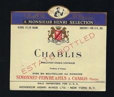 étiquette Vin  Chablis Simonnet Febvre & Fils à Chablis Monsieur Henri Wines New York Export - Bourgogne