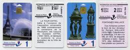 Lot De 2 Cartes à Puce De Stationnement Mairie De Paris. Tour Eiffel Et Fontaine Wallace. France - Télécartes
