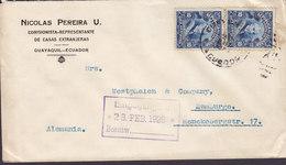 Ecuador NICOLAS PEREIRA U. Comisionista-Representante GUAYAQUIL 1925 Cover Letra HAMBURG Germany 2x Garcia Moreno - Ecuador