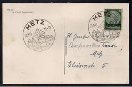 METZ - III REICH / 1940 OBLITERATION ILLUSTREE SUR CARTE POSTALE (ref 2433) - Elsass-Lothringen