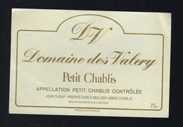 """étiquette Vin Petit Chablis Domaine Des Valery """"DV"""" Jean Durup Propriètaire à Maligny - Bourgogne"""