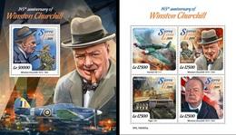 Sierra Leone 2019, Churchill, WWII, 4val In BF +BF - Sierra Leone (1961-...)