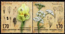 Bosnia & Herzegovina - Republika Srpska - 2018 - Nature Protection - Flora - Iris And Anis - Mint Stamp Set - Bosnia And Herzegovina