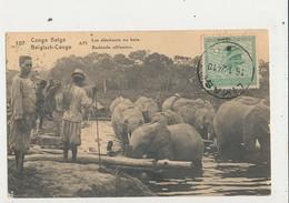 CONGO BELGE LES ELEPHANTS AU BAIN CPA BON ETAT - Belgian Congo - Other