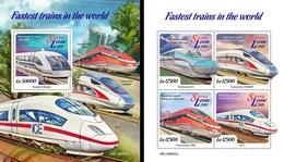 Sierra Leone 2019, Speed Trains, 4val In BF +BF - Sierra Leone (1961-...)